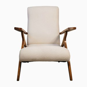 Reupholstered White Bouclé Lounge Chair, 1960s