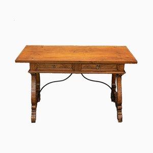 Toskanischer Walnuss Tisch mit 2 Schubladen auf Leier Tischbeinen