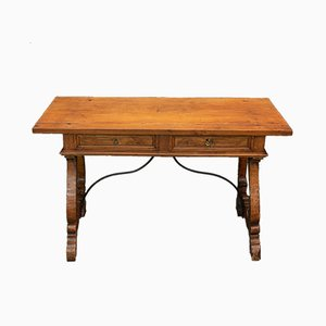 Tuscan Walnut Table with 2 Drawers on Lyre Legs