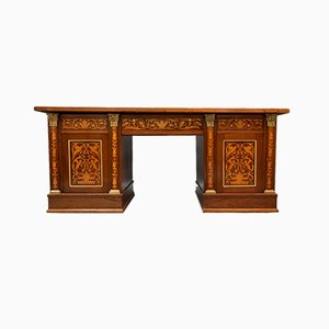 Antique Georgian Harewood Style Mahogany & Inlaid Fruitwood Library Desk with Green Leather Top & Bronze Decorations, 1800s