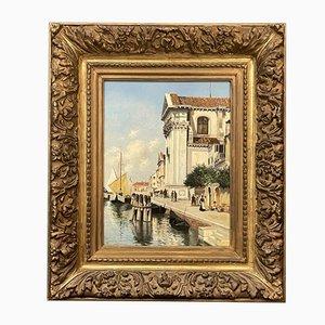 Blick auf Venedig, Öl auf Leinwand, E. Vitali, 1880