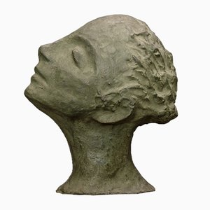 Italian Sculpture of Green Woman's Face, 1950
