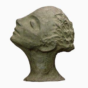 Italienische Skulptur eines Grünen Frauengesichtes, 1950