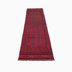 Long Antique Wool Maheshwari Runner Rug, 1900s