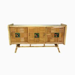Sideboard aus Rattan & Keramik, 1960er