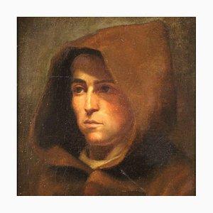 Pintura italiana, retrato de un fraile, siglo XVIII