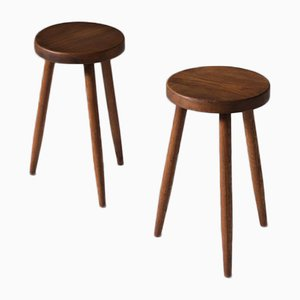 Mid-Century Oak Stools on Tapered Legs, Set of 2