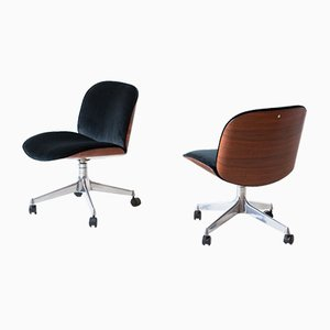 Rosewood and Velvet Desk Chairs by Ico Parisi for MIM, 1950s, Set of 2