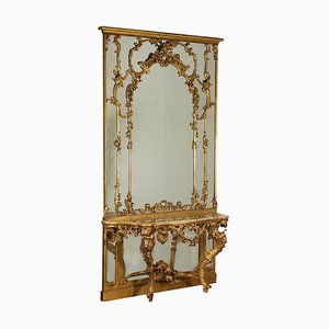 Antique Carved & Gilded Wood Console Table & Mirror, Early 1900s