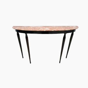 Italian Ebonized Walnut Console Table with Red Travertine Marble Top, 1960s
