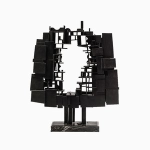 André Pailler, Abstract Sculpture in Black Wood on Marble, France, 1970s