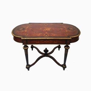 Napoleon III Blackened Pearwood Violonnée Table with Marquetry, 1800s