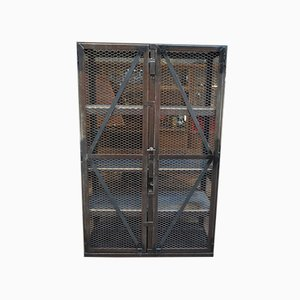 Industrial Metal Cage Shelving Unit, 1950s