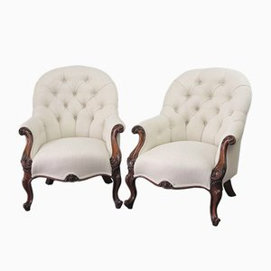 Early Victorian Rosewood Button-Back Armchairs, 1850s, Set of 2