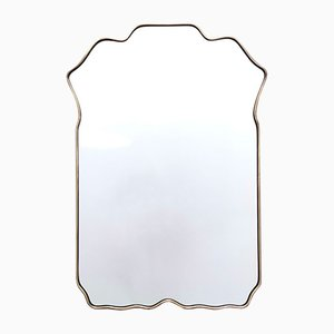 Italian Shield Shaped Wall Mirror with Brass Frame, 1960s