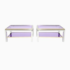 Chrome & Brass Flaminia Sofa Tables by Willy Rizzo, 1970s, Set of 2