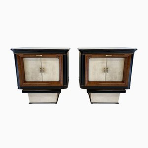 Italian Art Deco Parchment, Black Wood & Briar of Myrtle Nightstands, 1930s, Set of 2