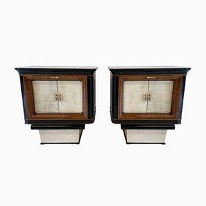Tables de Chevet Myrtes Art Déco en Parchemin, Bois Noir & Myrtle, Italie, 1930s, Set de 2