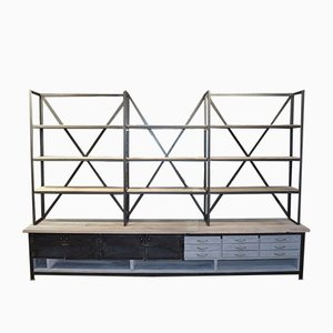 Industrial Metal & Wood Shelving Unit with Drawers, 1960s