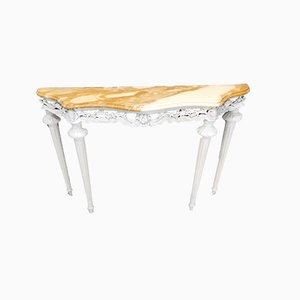Italian White Lacquered Beech Console Table with Marble Top, 1960s