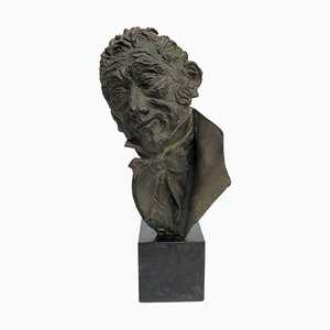 Bronze Bust of Dora Bassi by Alessandro Manzoni, 1970