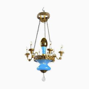Lampada da soffitto luccana turchese e dorata, inizio XIX secolo