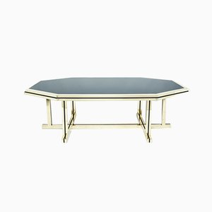 Large Brass & Black Glass Dining Table from Maison Jansen, 1970s