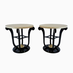 French Art Deco Style Parchment & Gold Leaf Side Tables, 1980s, Set of 2