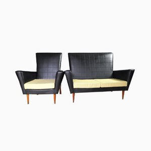 2-Seater Vinyl Sofa & Chair, 1950s, Set of 2