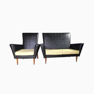 Sofá de dos plazas de vinilo y silla, años 50. Juego de 2