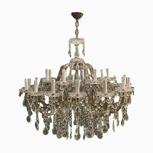 Large Lead Crystal Murano Glass 24-Light Chandelier, 1960s