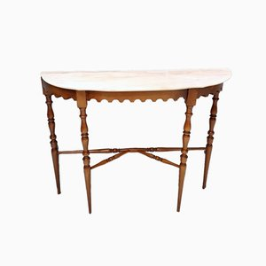 Italian Walnut Console Table with Pink Portuguese Marble Top, 1960s