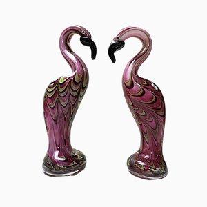 Mid-Century Murano Glass Flamingos, 1960s, Set of 2