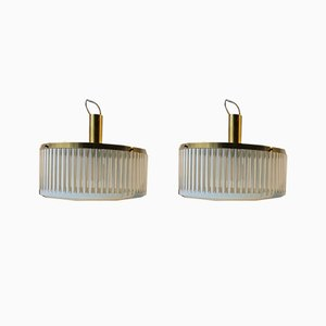 Brass & Tubular Glass Pendant Lamps from Schmahl & Schulz, 1960s, Set of 2