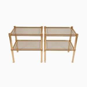 Italian Gilt Brass & Glass Two-Tier Side Tables by Maison Charles for Banci Firenze, 1970s, Set of 2