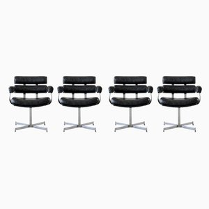 Vinyl & Chrome Barber's Chairs, 1970s, Set of 4