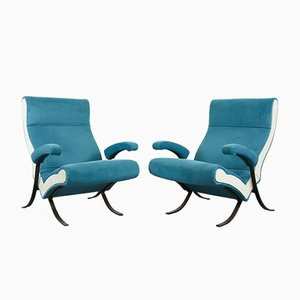 Velvet Lounge Chairs, 1950s, Set of 2