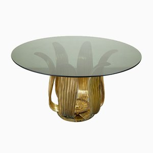 Brass Dining Table by Tommaso Barbi, 1970s