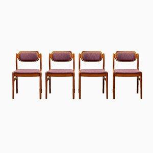 Dänische Teak Esszimmerstühle mit Lila Bezug von Johannes Andersen für Uldum Møbelfabrik, 1950er, 4er Set