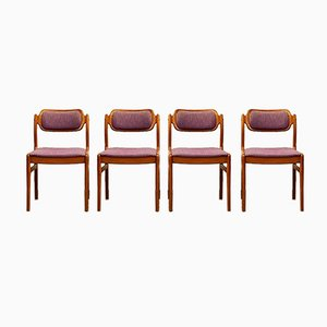 Danish Teak Dining Chairs with Purple Upholstery by Johannes Andersen for Uldum Møbelfabrik, 1950s, Set of 4
