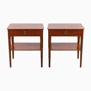 Tables de Chevet Vintage avec Plateaux en Verre, 1950s, Set de 2