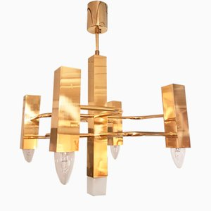 Vintage Graphic Gilt Brass Chandelier by Gaetano Sciolari, 1970s