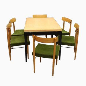 Viennese Extendable Dining Table with Six Chairs by Soziales Wohnen, 1950s, Set of 7