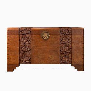 Art Deco Carved Camphor Wood Linen Chest, 1940s
