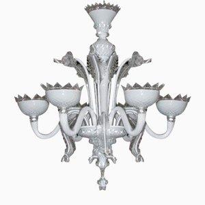 Lampadario veneziano in vetro di Murano e vetro bianco di latte di Briati Giuseppe, XVIII secolo