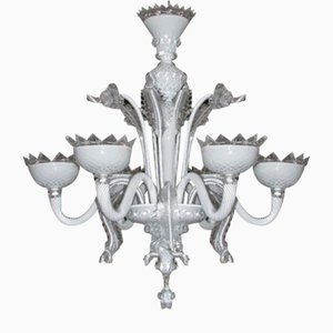Venetian Chandelier in Murano Glass and White Milk Glass by Briati Giuseppe, 1700s