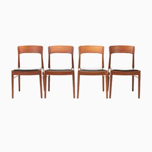Black Leather Dining Chairs by Henning Kjærnulf for Korup Stolefabrik, 1960s, Set of 4