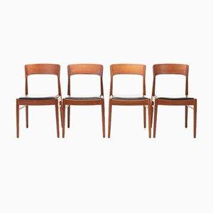 Schwarze Leder Esszimmerstühle von Henning Kjærnulf für Korup Stolefabrik, 1960er, 4er Set