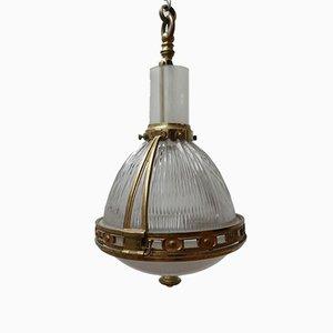 Lampada a sospensione vintage in ottone e vetro di Holophane, Francia