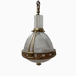 Vintage French Brass & Glass Pendant Lamp from Holophane